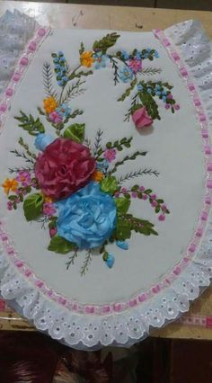 Ribbon Embroidery, Household Items, Crochet Lace, Napkins, Quilts, Sewing, Plates, Tableware, Desserts