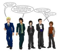 Jason: You look like some kind of politician Percy: Really? That Color? Nico: Why so depressed looking? Frank: You look like a waiter Leo: Forget is Repair Boy!  And that is my opinion of the seven going out to dinner! Luv Ya!