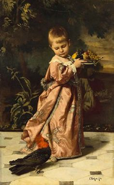 """Carl Rudolph Sohn   """"Young Prince With A Fruit Bowl And A Bird Of Paradise"""""""
