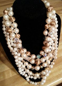 ♥ Layers and layers of pearls ♥ Seven gorgeous strands of pearls, crystals n bronze beads pull this unique vintage necklace together.  3 separate necklaces layered together...Sold together.  $55 PURCHASE LINK~ https://www.paypal.com/cgi-bin/webscr?cmd=_s-xclick&hosted_button_id=QDYTU4U6QD9NY