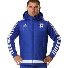 Adidas chelsea fc players #padded hooded #gilet sleeveless #football jacket rrp£,  View more on the LINK: 	http://www.zeppy.io/product/gb/2/391518499482/