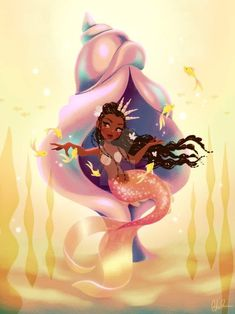 My latest mermaid! I'm pretty happy with how she came out! I wanted the mood to be very light and etherial Siren Mermaid, Black Mermaid, The Little Mermaid, Mermaid Artwork, Mermaid Drawings, Fantasy Mermaids, Mermaids And Mermen, Black Girl Art, Black Art