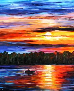 "Fishing By The Sunset — Palette Knife Lake Boats Fine Art Oil Painting On Canvas By Leonid Afremov. Size: 30"" X 40"" Inches (75cm x 100cm)"