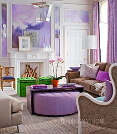 Recognize Pantone's color of 2017 along with 2018's ultra violet with accents of greenery. This lovely combination of colors gives a room a light, spring-like aura that plays well with fun animal or geometric prints.