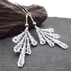 Lace earrings silver lace earrings 13th wedding by QuiddityGifts