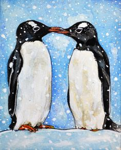 Kissing Penguins  original watercolour and acrylic by rachelledyer
