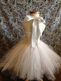 White Angel Princess Tulle Tutu Halloween Costume Dress Custom Dress-Up Bridal Flower Girl Halo Wedding Infant Baby Child Girl