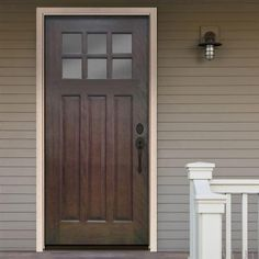 Steves & Sons 32 in. x 80 in. Craftsman 6 Lite Stained Mahogany Wood Prehung Front Door - M3306-2-HY-WJ-6ILH - The Home Depot