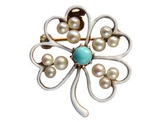 1900s Enamel Clover Brooch - Edwardian clover brooch with a folding bale fitting so that it can alternately be worn as a pendant. In 14K yellow gold with white enamel, pearls, and turquoise.