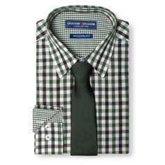 Men's Gingham Dress Shirt with Diamond Textured Tie Green 15.5 / 34-35 - Graham & Graham