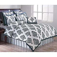 @Overstock - This comforter features a large spaced damask pattern printed in dark charcoal against a white background. This bedding set features matching solid black trims and a charcoal stripe.http://www.overstock.com/Bedding-Bath/Marcus-8-piece-King-size-Comforter-Set/6353575/product.html?CID=214117 $104.99