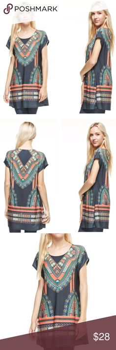 """🆕 Bohemian Cosmos Tunic The world seems to melt away the moment you slip it on. Wear it with elegance, ease and confidence. Relaxed silhouette. Pullover style. 94% polyester, 6% spandex. Hand wash cold. Approx measurements when laid flat: Pit to pit 18""""; Waist 18""""; Shoulder seam to hem 32"""". Made in USA🇺🇸. 💋 Tops Tunics"""