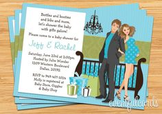 couples baby shower invatations | Modern Couple Baby Shower Invitation by EventfulCards | Catch My Party