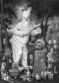 Artist Amandine Urruty's new series of drawings delivers a collection of artworks worthy of illustrating an Alice in Wonderland picture book . Urruty's new work is mainly done in pencil or graphite and in black and white. She depicts a mildly disturbing combination of children's b