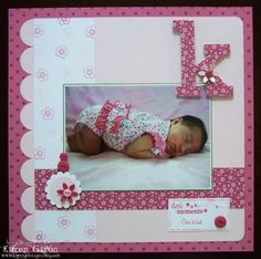 Baby Girl Scrapbook Pages | ... ; One Week – SCS Scrapbook Page Layout Sample, Baby Girl, 12×12