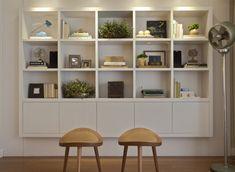 estante de laca branca com nichos