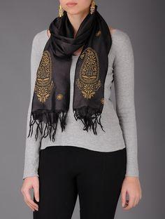 Buy Black Beige Golden Chikankari Tussar Silk Stole Accessories Scarves & Stoles Splendor Exquisite Hand Embroidered Dupattas and Online at Jaypore.com