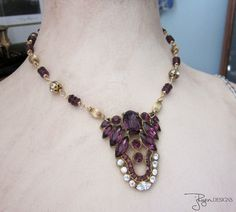 Art Deco Necklace Handmade Repurposed Necklace by jryendesigns