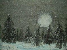 Moonlit snow flurries, Kids art lesson