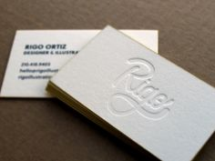 Letterpress business cards, Paper: 550 gsm, 1 PMS colour, blind impression, and edge painting