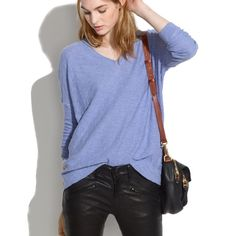 Madewell Slub V-Neck Sweater Madewell Slub V-Neck Sweater. A toss-it-on, textured slub V-neck. You might just want one in every color.  -Swingy, loose fit. -Cotton/wool. -Like new.  No Trades. Please make all offers through offer button. Madewell Sweaters V-Necks
