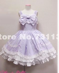 2014 New Light Purple Bow Lace Lolita Princess Dress Custom