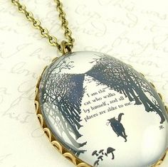 Cat Jewelry - Rudyard Kipling - Quote Pendant Necklace from Just So Stories - The Cat That Walked By Himself