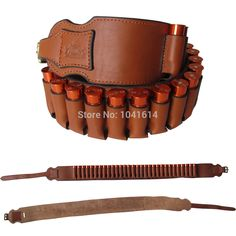 Genuine Leather Bandolier bullet Belt Shell Holder Belt Shotgun Ammo Cartridge  #UnbrandedGeneric