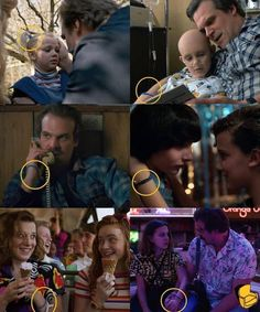 Hopper saved his daughter's hair tie after she died and wore it as a bracelet until Eleven came into his life when he gave it to her. This detail is never discussed in Stranger Things Season Three. Netflix Stranger Things, Stranger Things Theories, Stranger Things Actors, Stranger Things Have Happened, Stranger Things Funny, Stranger Things Season, Stranger Quotes, Funny Things, Foto Art