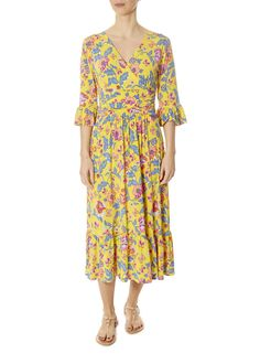 This is the 'Leslie Santa Maria' Yellow Dress by stunning brand Onjenu. The Leslie dress is a great flattering dress. It has a cross pleating v-neckline and mid length sleeves, with an added benefit of pockets on either side. Leopard Dress, Pink Leopard, Flattering Dresses, Santa Maria, Striped Shorts, Yellow Dress, Wrap Dress, London, Summer Dresses