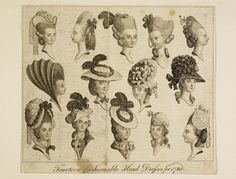 "Print of Fourteen Heads: ca. 1780, inscribed ""Fourteen fashionable head dresses for 1780."""