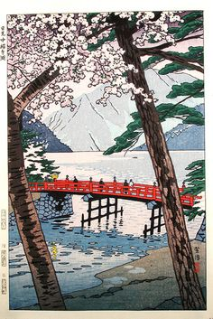 笠松紫浪: Lake Shuzenji, Nikko - Japanese Art Open Database