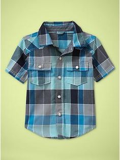 cute woven blue checkered shirt, love the perfection of all the matching stripes and lines...