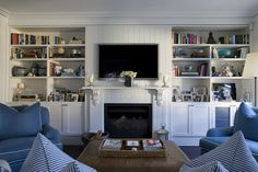 Fireplace with bookcases. Randwick North - Denai Kulcsar Interiors