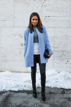Baby blue coat with black/grey/white outfit