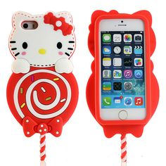 New 3D Cute Lollipops Hello Kitty Soft Silicone Case Cover for iPhone 6 Plus 5S #UnbrandedGeneric