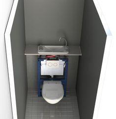 Wc Suspendu Avec Lave Main Geberit toilette Geberit Suspendu Amazing Monolith Wc Geberit Plus by / Dekozilla Small Toilet Room, Guest Toilet, Downstairs Toilet, Wall Mounted Toilet, Bathroom Design Small, Bathroom Layout, Toilet Sink, Tiny Bathrooms, Toilet Design