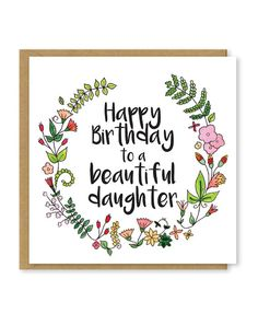 Daughters birthday card  Beautiful daughter card  Floral