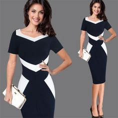 Women Elegant Patchwork Office Business Party Evening One Piece Dress Suit Mother of Bride Special Occasion Sheath Bodycon Dress Elegant Woman, Business Dresses, Preppy Outfits, One Piece Dress, Dress Suits, Pencil Dress, Work Casual, Ideias Fashion, Short Sleeve Dresses