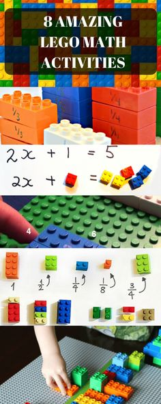 8 Amazing Lego Math Activities for elementary kids. Learn Fractions, algebra, geometry, and so much more through these fun lego blocks. Great tips for homeschool math learning. Teacher tips for use of Lego in classrooms. Algebra Activities, Lego Activities, Math Resources, Math Games, Teaching Math, Numeracy, Division Activities, Math Enrichment, Counting Games