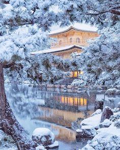 ✧ Mesmerizing Nature ✧ - coiour-my-world: Kinkakuji-temple, Kyoto, Japan. Snow Scenes, Winter Scenes, Winter In Japan, Snow Japan, Japan Japan, Kyoto Winter, Japan Summer, Anime Japan, Monte Fuji