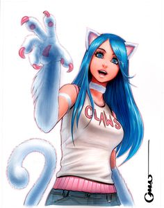 e621 animal_humanoid blue_eyes blue_hair capcom cat_humanoid cat_tail claws clothed clothing darkstalkers felicia_(darkstalkers) feline female fully_clothed fur hair humanoid looking_at_viewer mammal omar_dogan open_mouth simple_background solo video_games white_background white_fur
