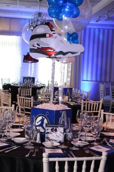 Sneaker Themed Centerpiece Sneaker Themed Bar Mitzvah Centerpiece with Custom Logo, Photos & Blowup Sneakers Bar Mitzvah Centerpieces, Bar Mitzvah Themes, Bar Mitzvah Party, Baby Shower Centerpieces, Party Centerpieces, Bat Mitzvah, Quinceanera, Jordan Baby Shower, Birthday Party Themes