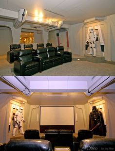 Man Cave Room,,, Star Wars Home Theater Room. I wonder if they have have the whole series of movies?