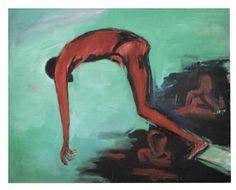 Im Sprung grün by Helmut Middendorf