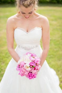 My beautiful dress from Pronovias. Bouquet of pink peonies and roses. #weddingdress #weddingflowers #pronovias
