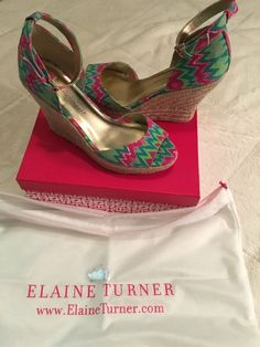 Elaine Turner Patterned Wedge Heels w Ankle Strap, Size 9.5    eBay