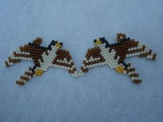 Earrings, Peregrine Falcons, Seed Beads