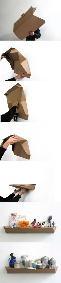 Carton shelf for May project - DIY Origami Cardboard Design, Cardboard Furniture, Cardboard Crafts, Diy Furniture, Furniture Design, Karton Design, Diy Paper, Paper Crafts, Carton Diy