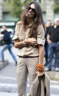 tan/patterned- sleeves rolled